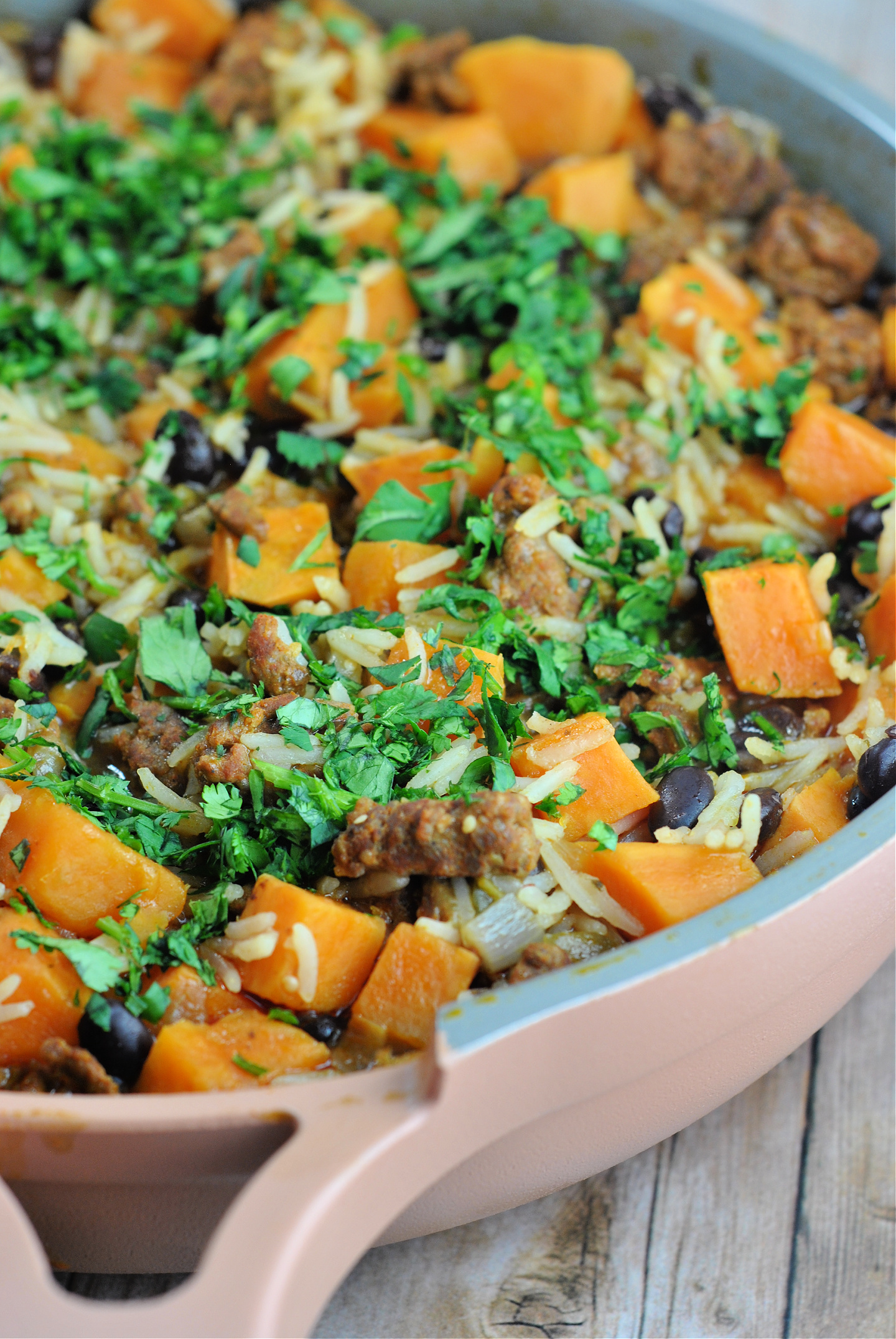 Mexican Chorizo, Sweet Potato and Black Bean Rice Skillet via @preventionrd