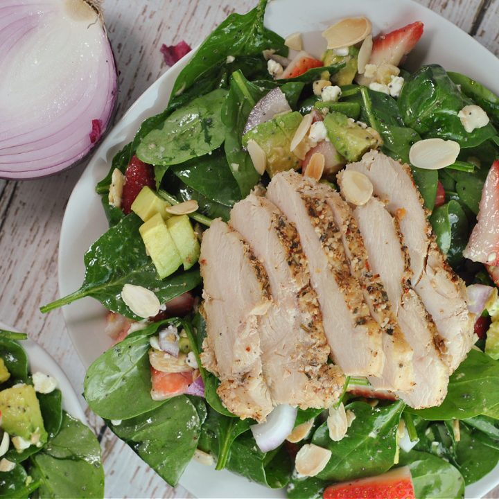 Strawberry-Avocado Chicken and Spinach Salad with Poppyseed Dressing