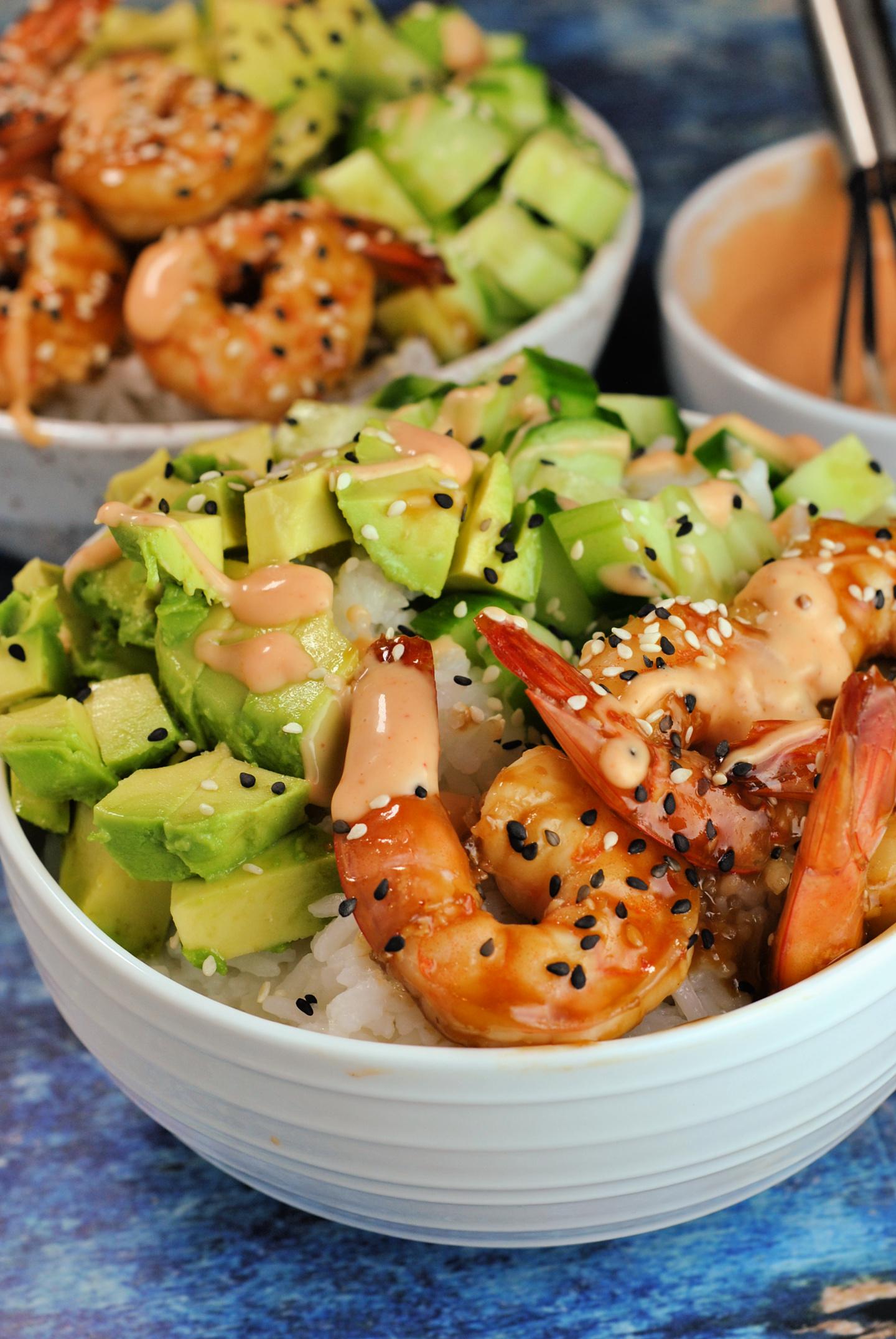 Teriyaki Shrimp Sushi Bowls via @preventionrd