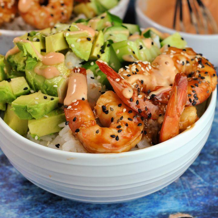 Teriyaki Shrimp Sushi Bowls