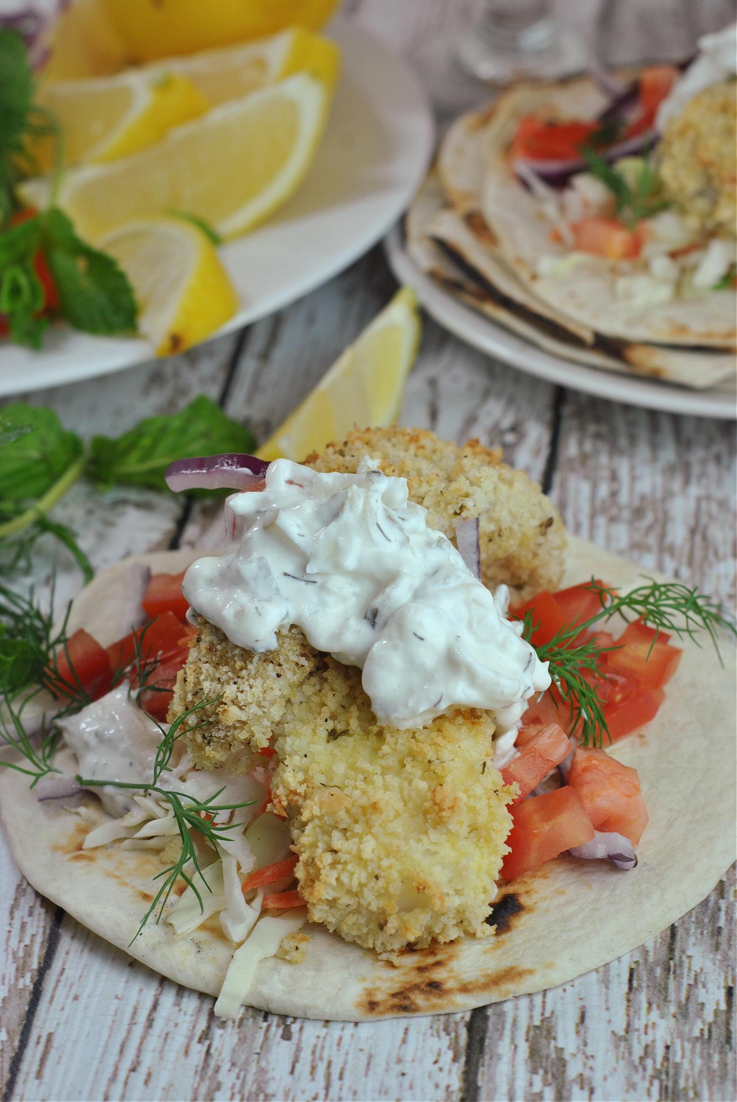 Tzatziki Fish Tacos via @preventionrd