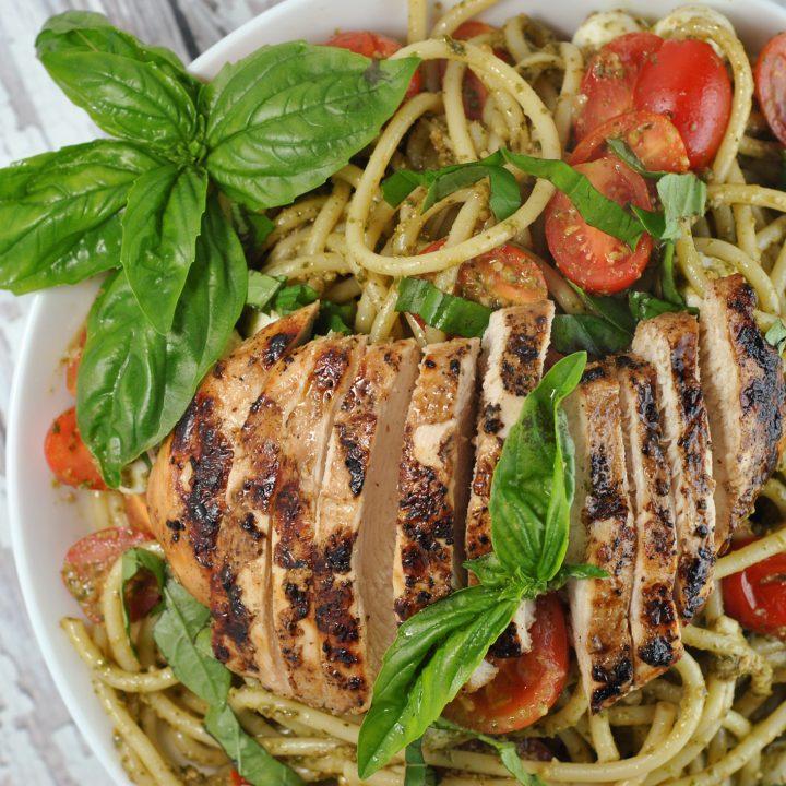 Balsamic Chicken with Pesto Caprese Pasta