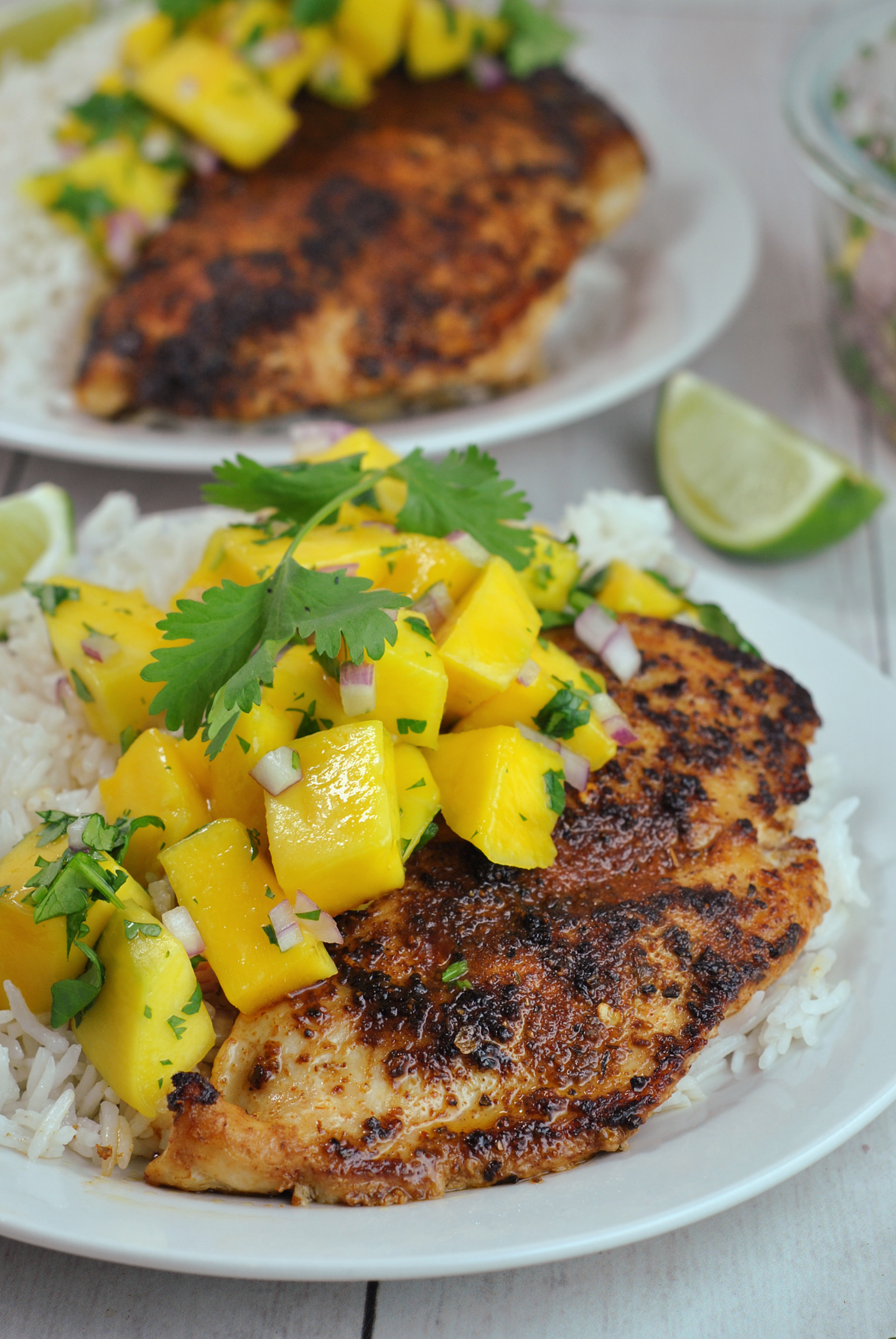 Jerk Chicken Bowls with Mango Salsa and Coconut Rice via @preventionrd