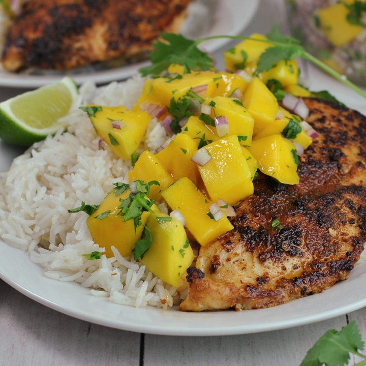 Jerk Chicken with Mango Salsa and Coconut Rice