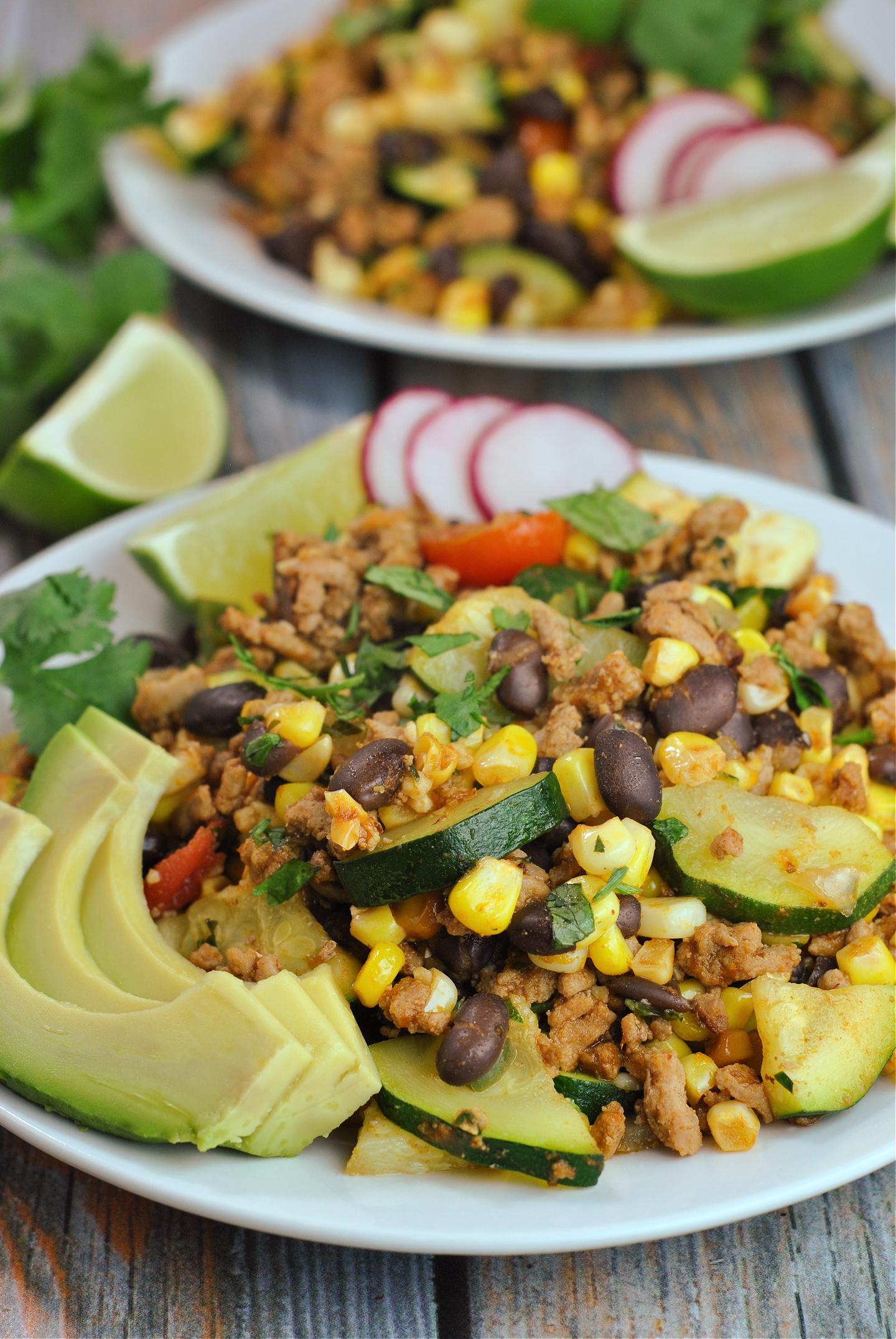 Ground Turkey Skillet with Zucchini, Corn, Black Beans, and Tomato via @preventionrd