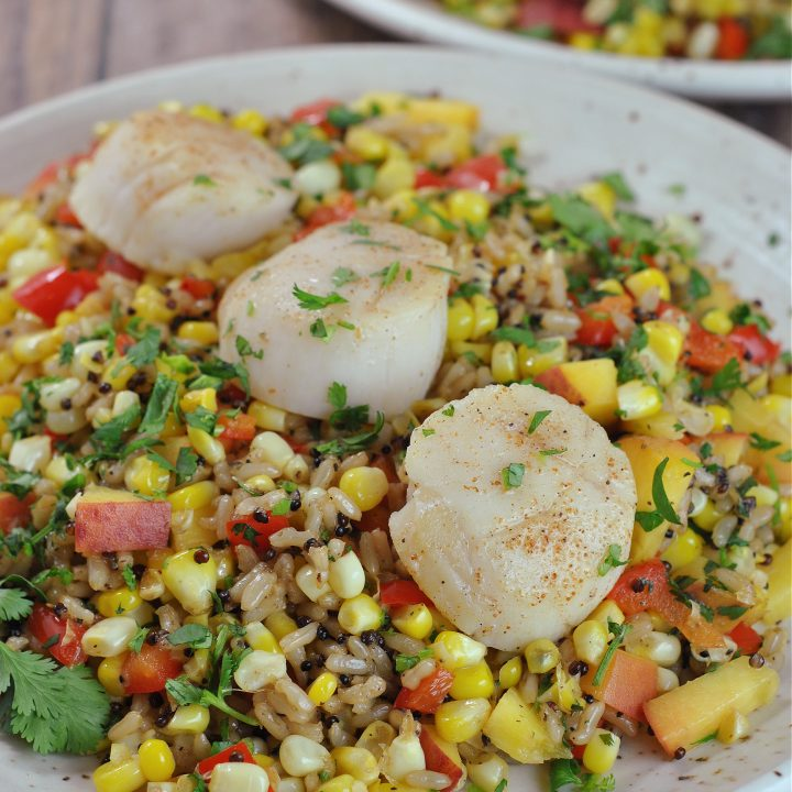 Pan Seared Scallops with Summer Corn and Peach Medley