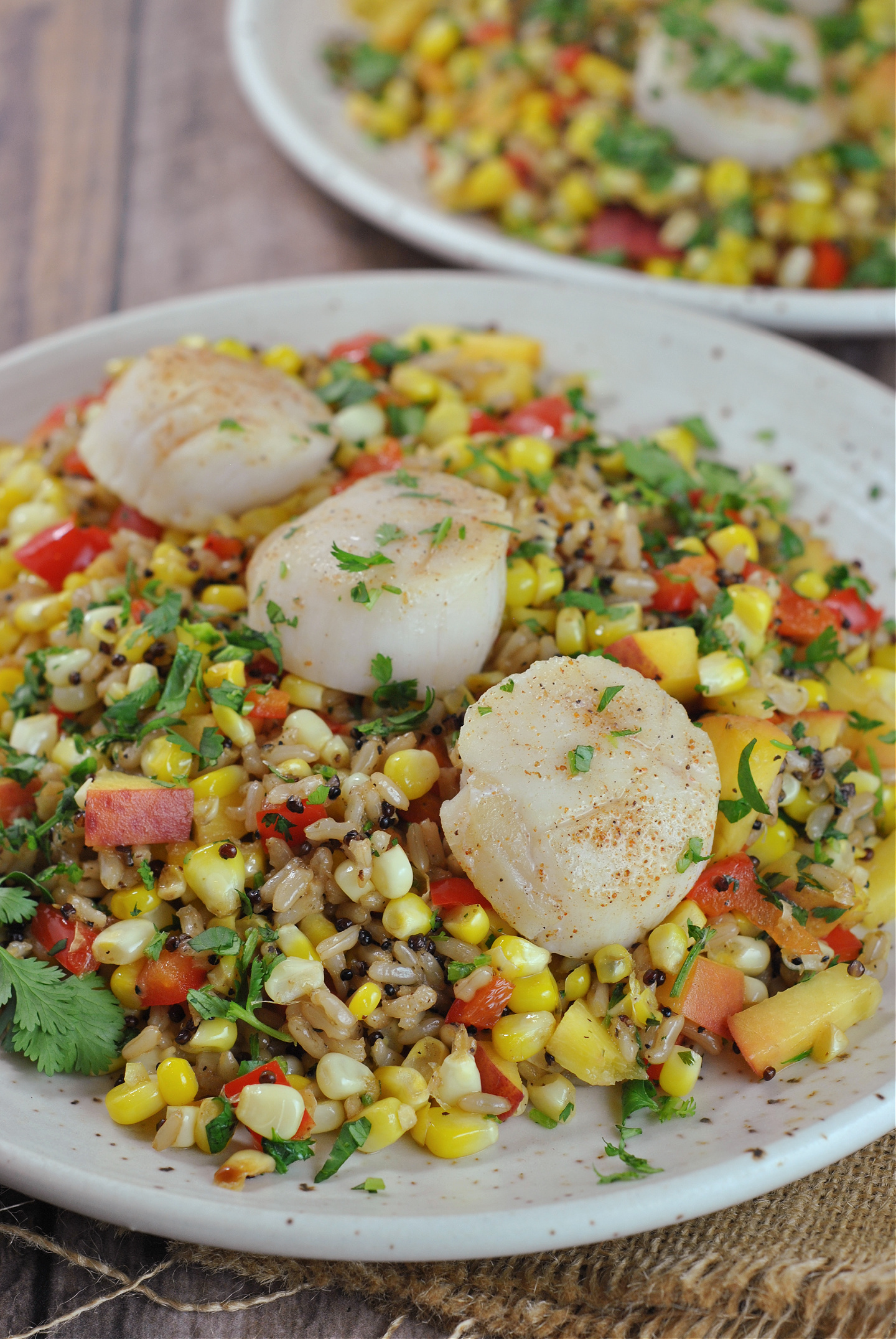 Pan Seared Scallops with Summer Corn and Peach Medley via @preventionrd