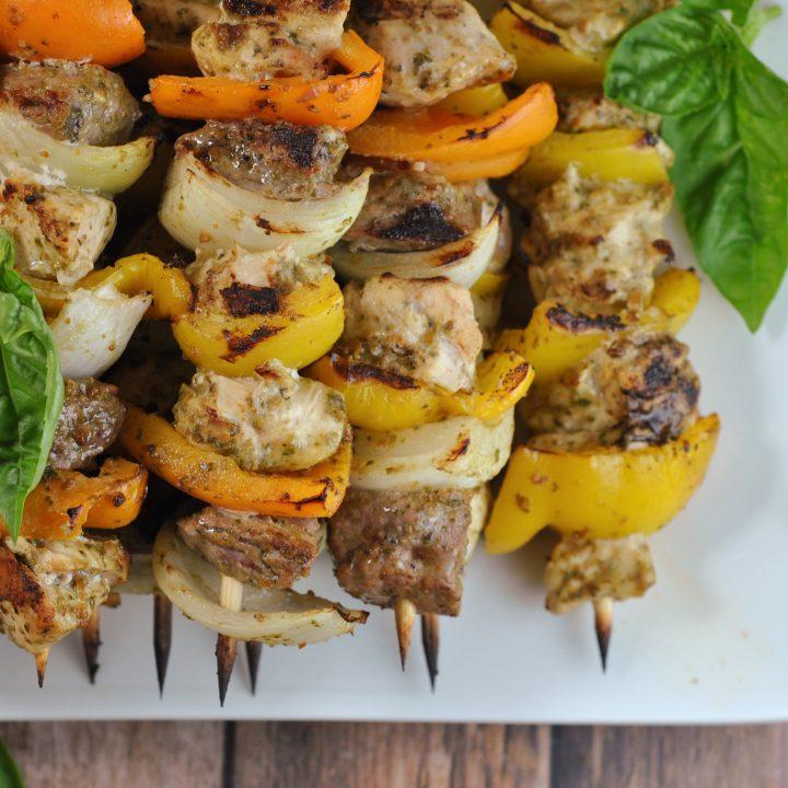 Pesto Steak and Chicken Kebabs