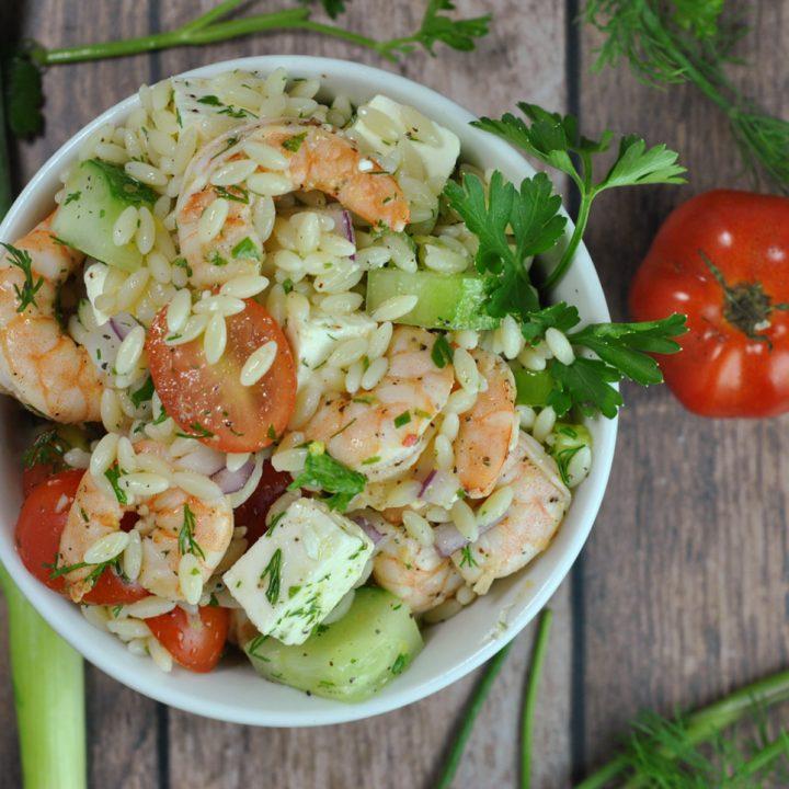 Greek-Style Shrimp Orzo Pasta Salad