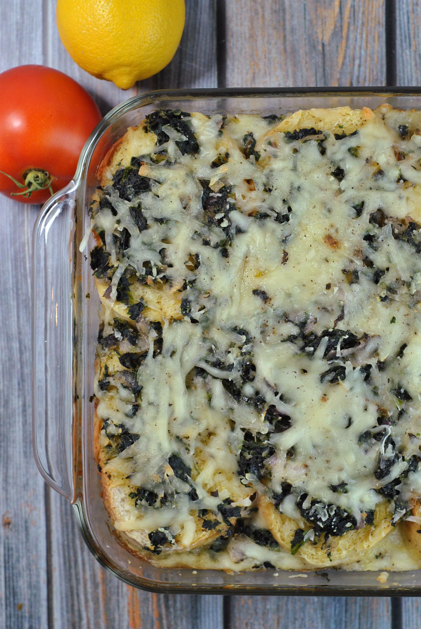 Spinach and Gruyère Breakfast Strata via @preventionrd
