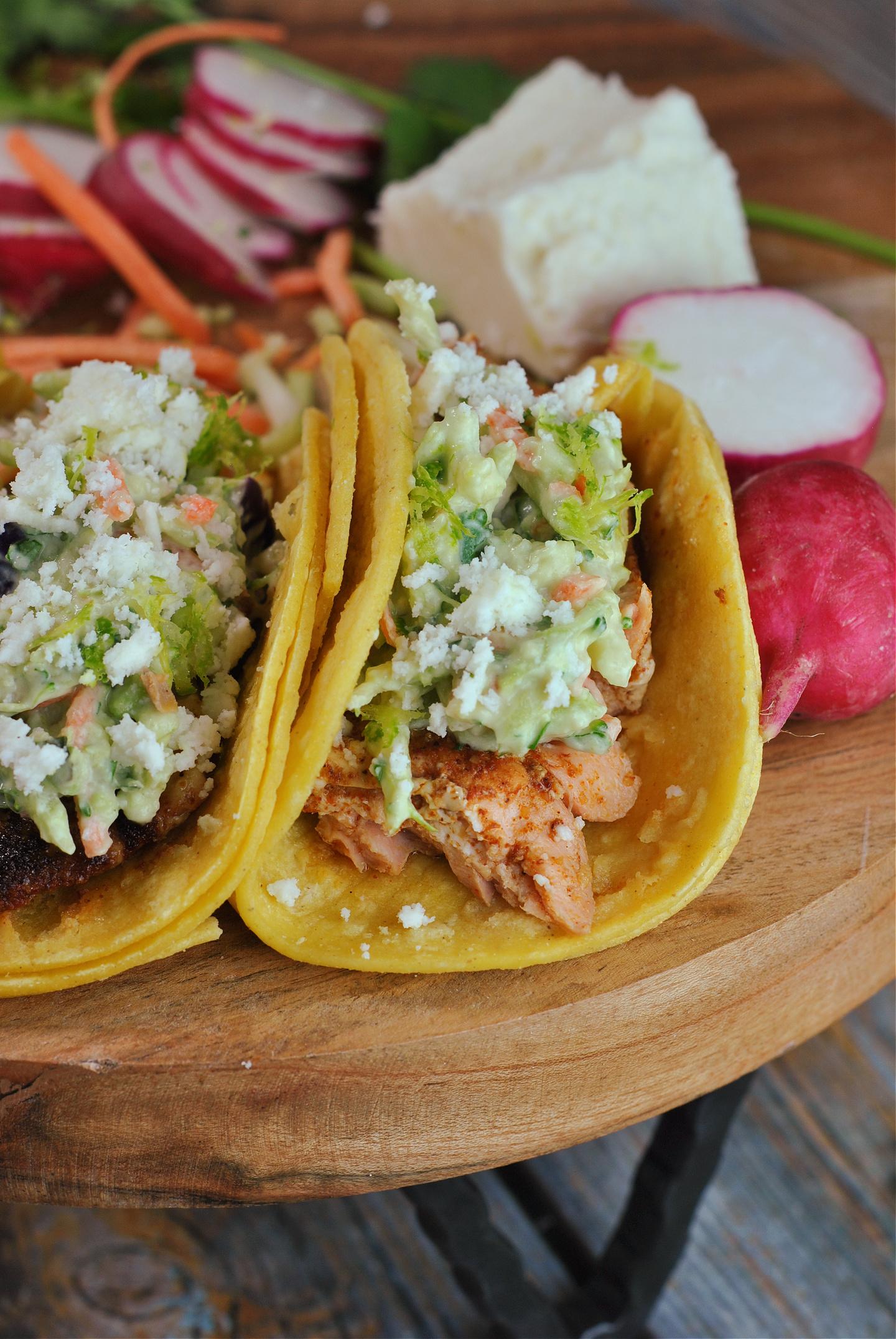 Salmon Tacos with Avocado Slaw via @preventionrd
