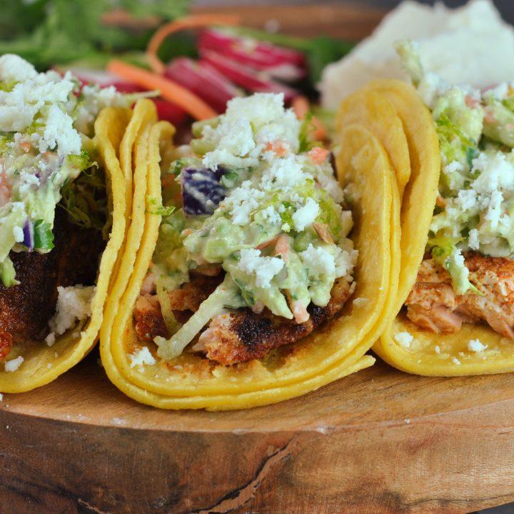 Salmon Tacos with Avocado Slaw